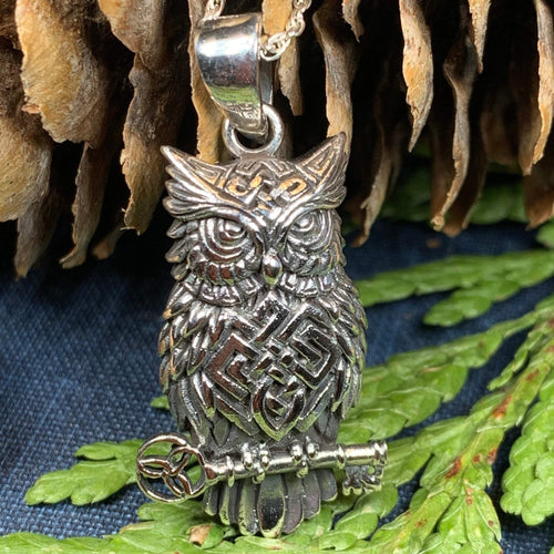 Owl Necklace, Celtic Jewelry, Nature Jewelry, Bird Necklace, Bird Lover Gift, Owl Gift, Woodland Jewelry, Mom Gift, Wife Gift