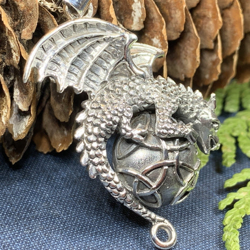 Dragon Moon Necklace, Celtic Jewelry, Pagan Jewelry, Gothic Necklace, Wiccan Jewelry, Welsh Dragon Pendant, Pagan Jewelry