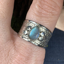 Load image into Gallery viewer, Celtic Flower Ring, Celtic Jewelry, Irish Jewelry, Blue Topaz Ring, Irish Ring, Irish Dance Gift, Anniversary Gift, Bridal Ring, Wiccan Gift
