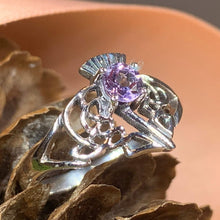 Load image into Gallery viewer, Thistle Ring, Celtic Jewelry, Scotland Jewelry, Amethyst Jewelry, Outlander Jewelry, Nature Ring, Thistle Jewelry, Mom Gift, Wife Gift