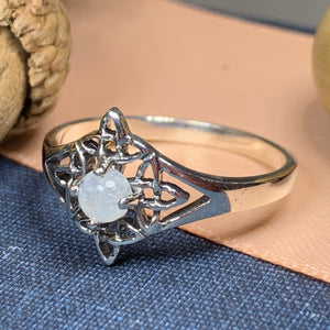 Celtic Star Ring, Moonstone Jewelry, Celtic Knot Ring, Irish Jewelry, Celtic Jewelry, Anniversary Gift, Wiccan Jewelry, Wife Gift, Mom Gift