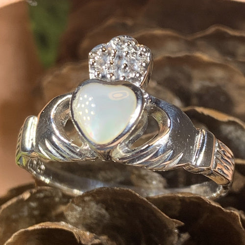 Claddagh Ring, Celtic Jewelry, Irish Jewelry, Celtic Knot Jewelry, Irish Ring, Ireland Gift, Anniversary Gift, Bridal Ring, Mother of Pearl