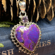 Load image into Gallery viewer, Purple Heart Necklace, Celtic Jewelry, Nature Jewelry, Turquoise Jewelry, Anniversary Gift, Heart Jewelry, Bridal Jewelry, Sweet 16 Gift