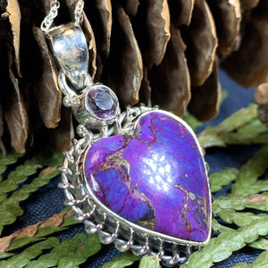 Purple Heart Necklace, Celtic Jewelry, Nature Jewelry, Turquoise Jewelry, Anniversary Gift, Heart Jewelry, Bridal Jewelry, Sweet 16 Gift