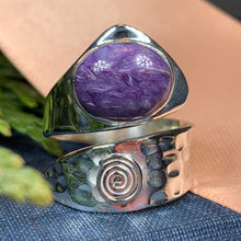 Load image into Gallery viewer, Celtic Spiral Ring, Wrap Ring, Irish Jewelry, Labradorite Jewelry, Celtic Jewelry, Anniversary Gift, Wiccan Jewelry, Wife Gift, Mom Gift