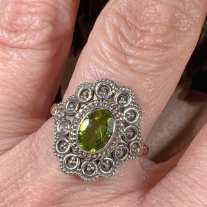 Celtic Queen Ring, Celtic Jewelry, Irish Jewelry, Peridot Ring, Irish Ring, Blue Topaz Ring, Anniversary Gift, Bridal Ring, Wiccan Gift