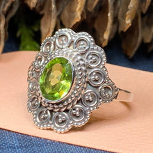 Load image into Gallery viewer, Celtic Queen Ring, Celtic Jewelry, Irish Jewelry, Peridot Ring, Irish Ring, Blue Topaz Ring, Anniversary Gift, Bridal Ring, Wiccan Gift