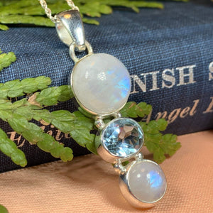 Moonstone Necklace, Moonstone Pendant, Celestial Jewelry, Celtic Jewelry, Anniversary Gift, Wiccan Jewelry, Pagan Necklace, Girlfriend Gift