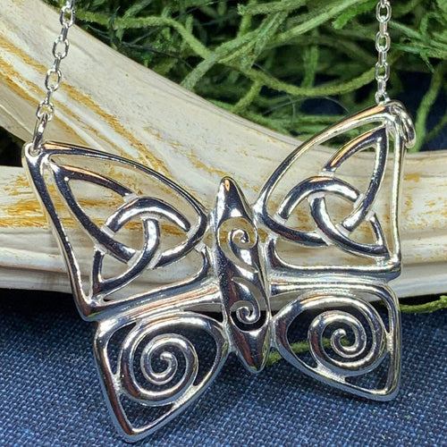 Butterfly Necklace, Celtic Jewelry, Celtic Knot Jewelry, Irish Jewelry, Anniversary Gift, Nature Jewelry, Mom Gift, Insect Jewelry