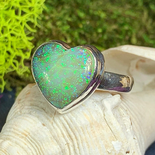 Opal Heart Ring, Celtic Jewelry, Boho Jewelry, October Birthstone, Promist Ring, Girlfriend Gift, Anniversary Gift, Sweet 16 Gift, Mom Gift
