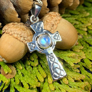 Celtic Cross Necklace, Cross Necklace, Moonstone Pendant, Anniversary Gift, Irish Cross Necklace, Religious Jewelry, Ireland Gift, Mom Gift