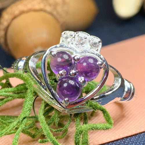 Claddagh Ring, Celtic Jewelry, Irish Jewelry, Celtic Knot Jewelry, Irish Ring, Irish Dance Gift, Anniversary Gift, Bridal Ring, Amethyst