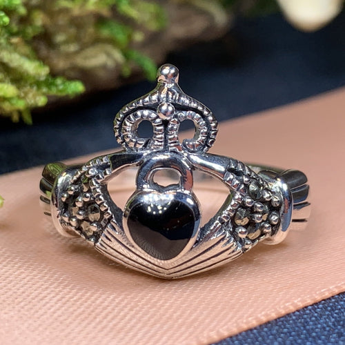 Claddagh Ring, Celtic Jewelry, Irish Jewelry, Celtic Knot Jewelry, Onyx Irish Ring, Irish Dance Gift, Anniversary Gift, Luckenbooth Ring