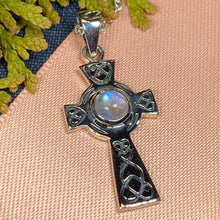Load image into Gallery viewer, Celtic Cross Necklace, Cross Necklace, Moonstone Pendant, Anniversary Gift, Irish Cross Necklace, Religious Jewelry, Ireland Gift, Mom Gift
