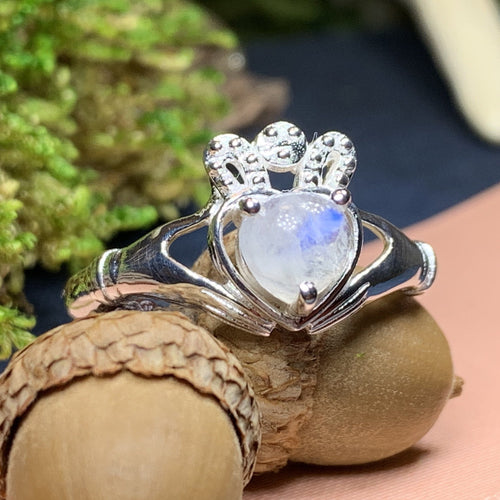 Claddagh Ring, Celtic Jewelry, Irish Jewelry, Celtic Knot Jewelry, Irish Ring, Irish Dance Gift, Anniversary Gift, Moonstone Engagement Ring