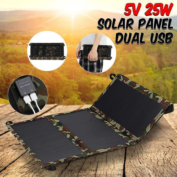 25W Solar Panels Portable Folding Foldable Waterproof Dual 5V USB Charger Power Bank