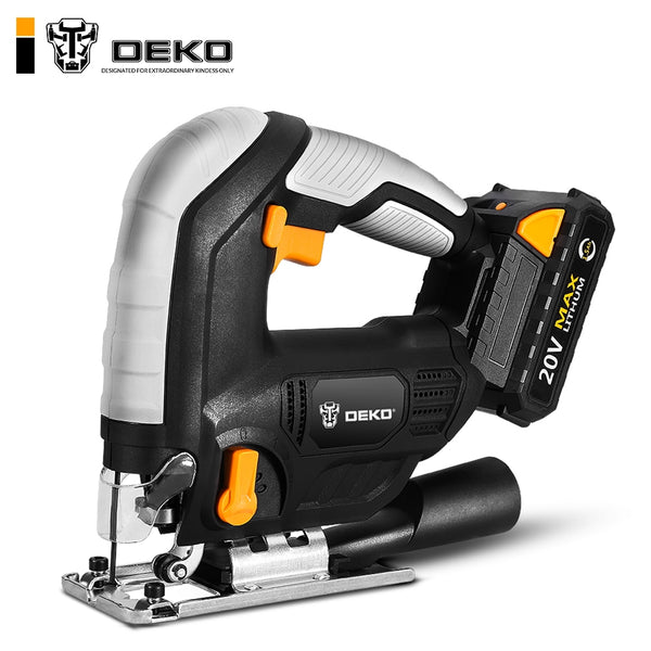 DEKO 20V Cordless Jig Saw Adjustable Speed Electric Saw with Blades,Allen Wrench ,Metal Ruler Power Tools