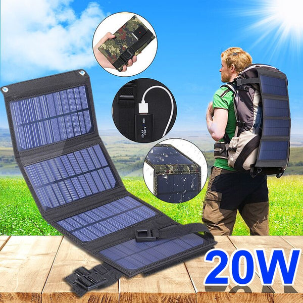 Portable 20W Solar Panel Folding Cell Foldable Waterproof USB Port Charger Mobile Power Bank