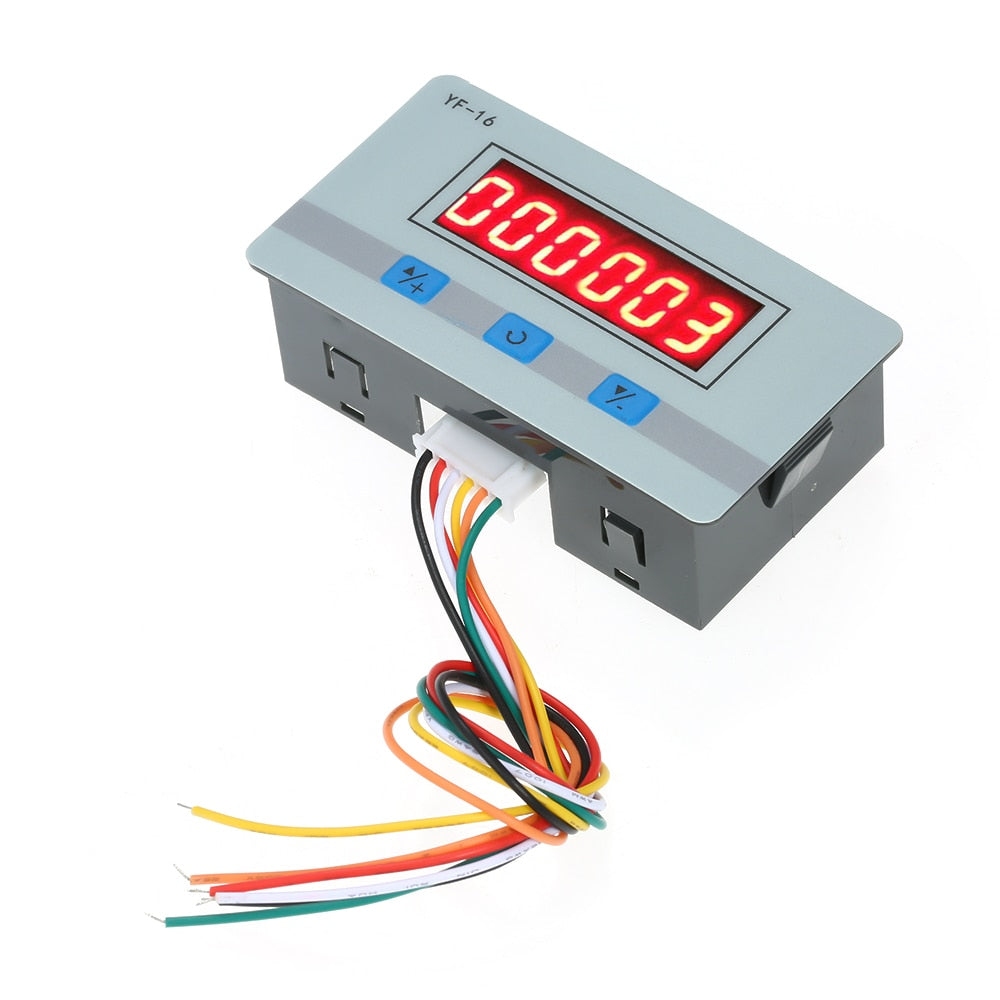 Mini LCD Digital Counter Module DC/AC5V~24V Electronic Totalizer with NPN and PNP Signal Interface 1~999999 Times Counting Range