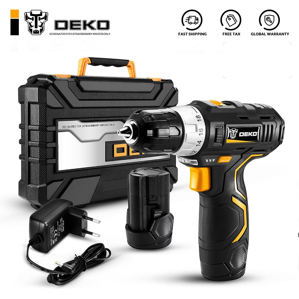 DEKO GCD12DU3 12V Max Electric Screwdriver Cordless Drill Mini Wireless Power Driver DC Lithium-Ion Battery 3/8-Inch 2-Speed