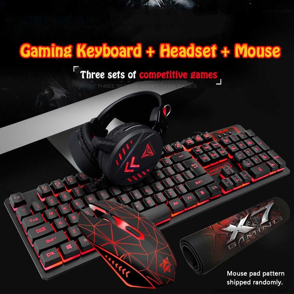 4Pcs LED Backlit Gaming Mechanical Keyboard+Gaming Mouse+Headset +Mouse Pad Wired Backlight Desktop Ergonomic Keyboard Set