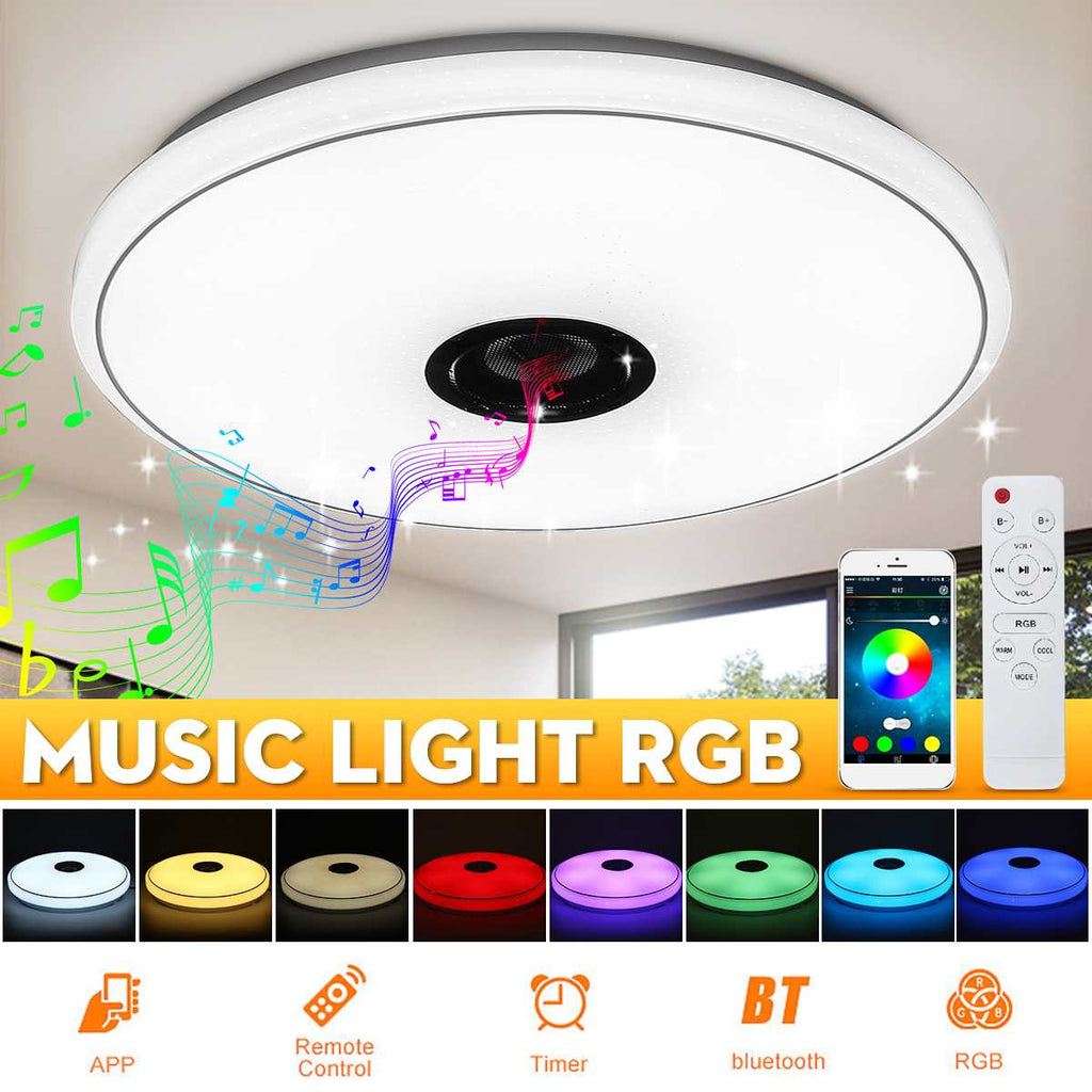 Modern RGB LED Ceiling Light Dimmable bluetooth Speaker Music Lamp Party Bedroom Remote +APP Smart Colorful Light