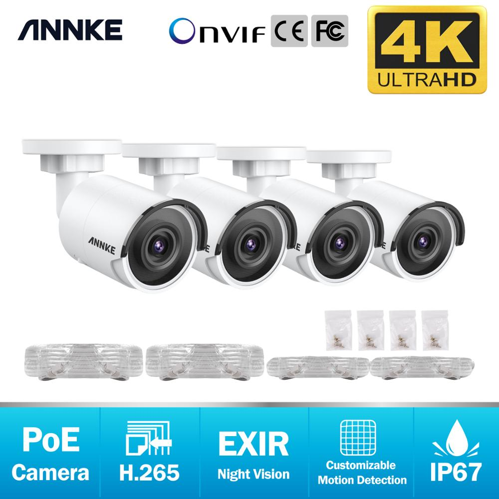 ANNKE 4X Ultra HD 8MP POE IP Camera 4K Outdoor Indoor Waterproof Network Bullet EXIR Night Vision Email Alert Security CCTV Kit