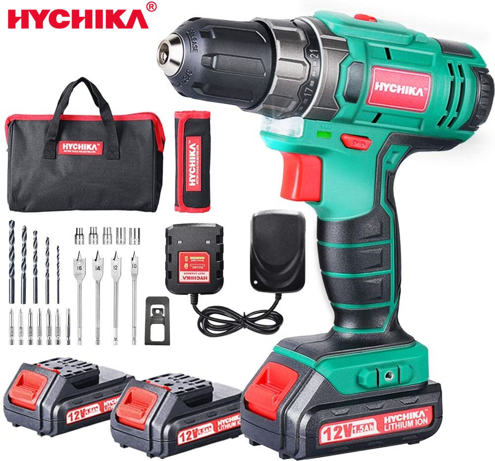 HYCHIKA 12V Double-Battery Cordless Electric Drill Electric Screwdriver Wireless Power Driver DC Lithium-Ion Battery Drill