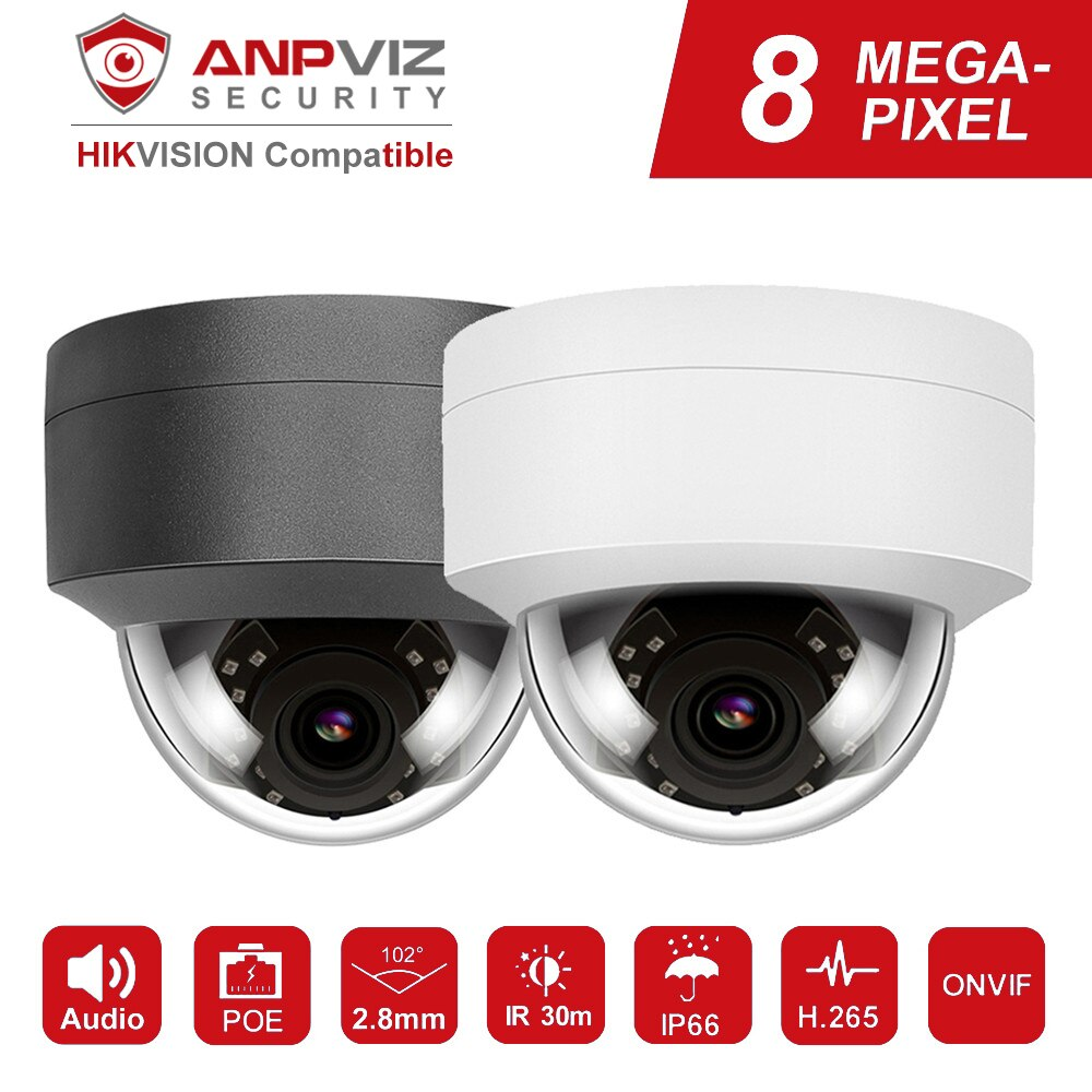 Hikvision Compatible Anpviz 4K 8MP POE IP Camera Dome Security Camera Outdoor Built-in Mic Audio IP66 Onvif 30m IR