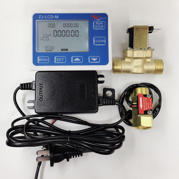 "ZJ-LCD-M meter controller+1/2"" flow sensor + valve +Power supply for water liquid measurement"