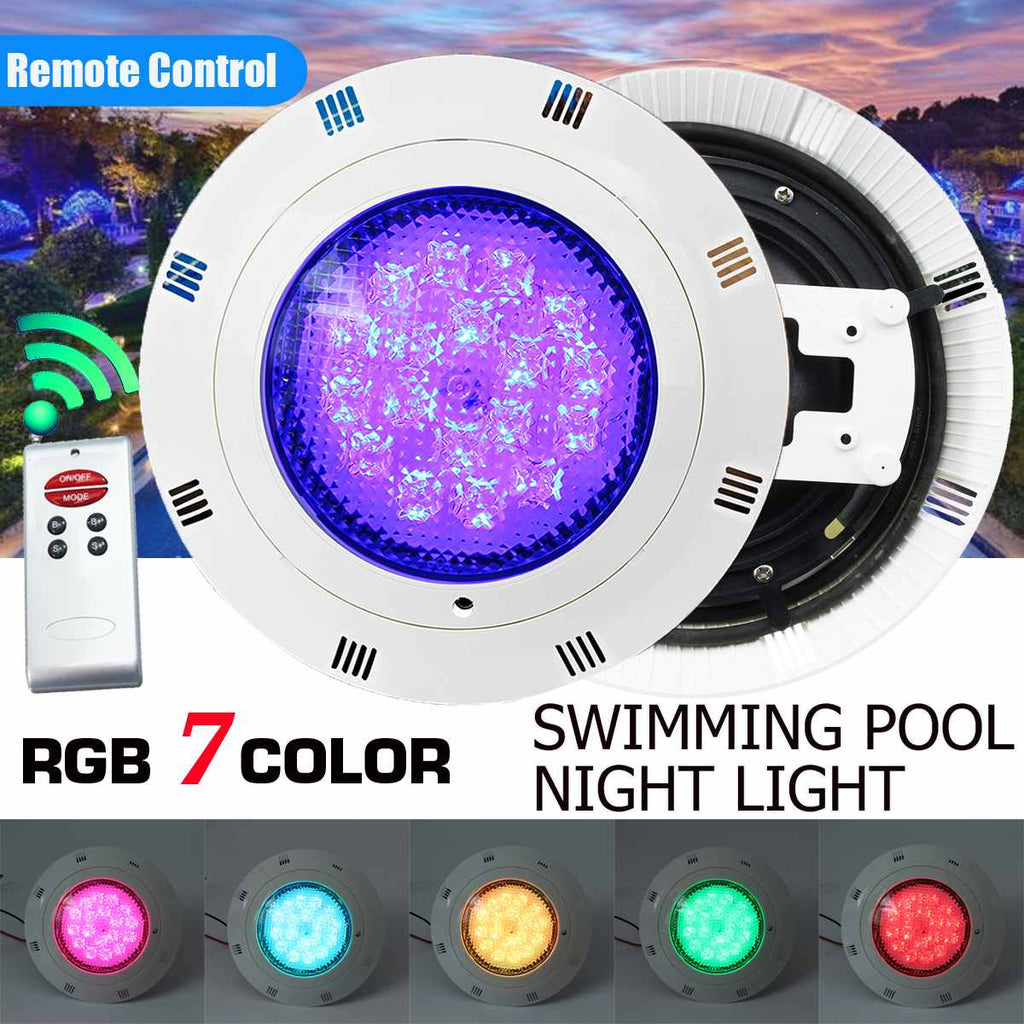 54W RGB Led Swimming Pool Light w Remote Control 108LED IP68 Waterproof Outdoor Underwater Submersible Light Pond Spotlight