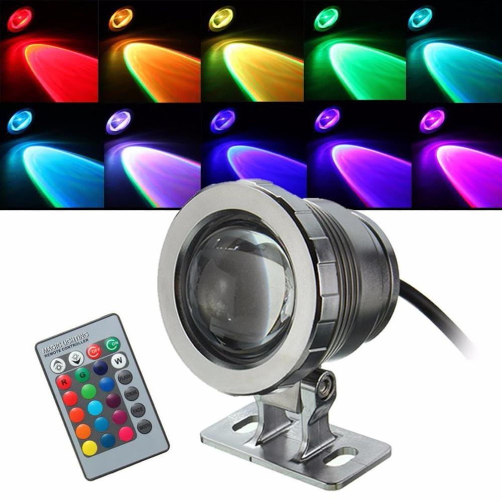 Waterproof 10W RGB LED Light Garden Fountain Pool Pond Spotlight Super Bright Underwater Light Lamp With Remote Control