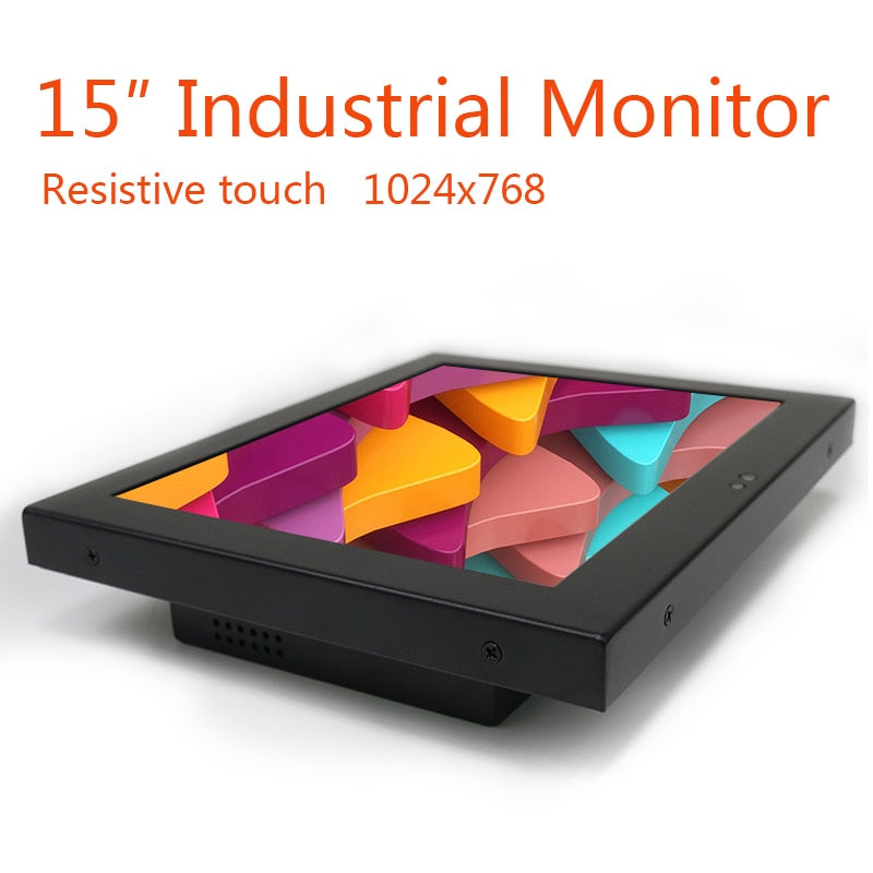 "15"" Inch  LCD Screen Monitor of Tablet VGA HDMI DVI USB Advertising 1024*768 Resistance Touch Screen"