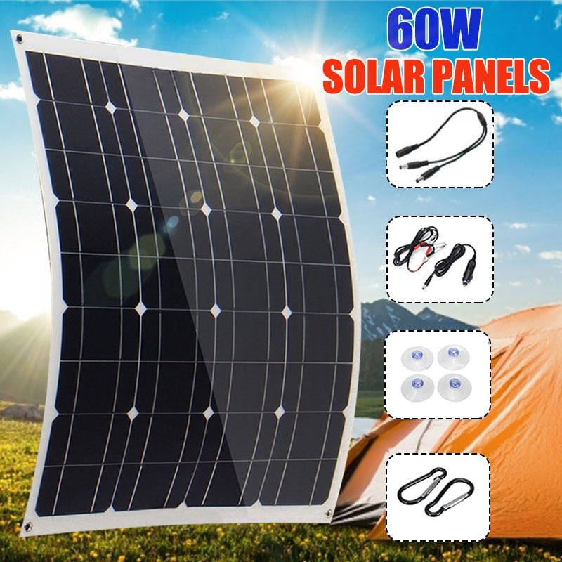60W 12V Flexible Solar Panel 60x52cm Light weight Dual USB Mono crystalline cells solar battery charger For Outdoor RV Car Boat