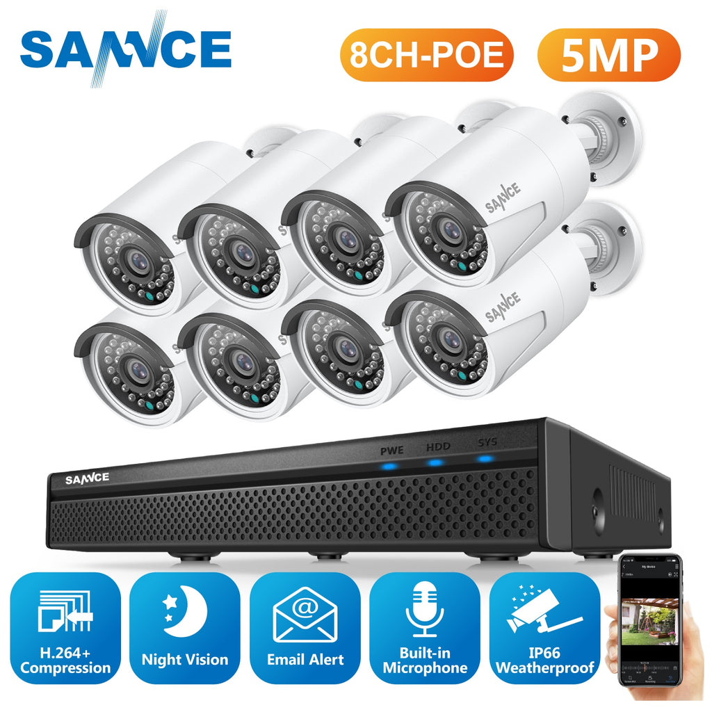 SANNCE 8CH 5MP FHD POE Video Security System H.264+ 5MP With 4X 8X 5MP Outdoor Waterproof IP Camera Built-in Microphone CCTV Kit