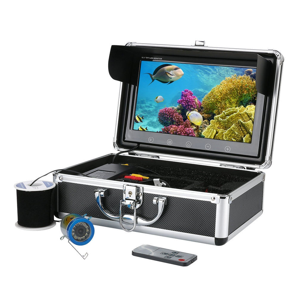 "GAMWATER 10"" Inch Color Monitor 50M HD 1000tvl Underwater Fishing Video Camera Kit 12 PCS Infrared Lamp Lights"