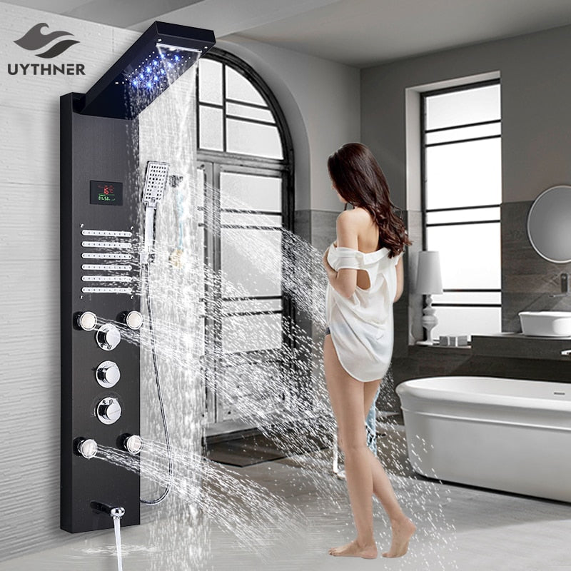 Uythner Luxury Brushed Nickle Bathroom Shower Faucet LED Shower Panel Column Bathtub Mixer Tap W/Hand Shower Temperature Screen