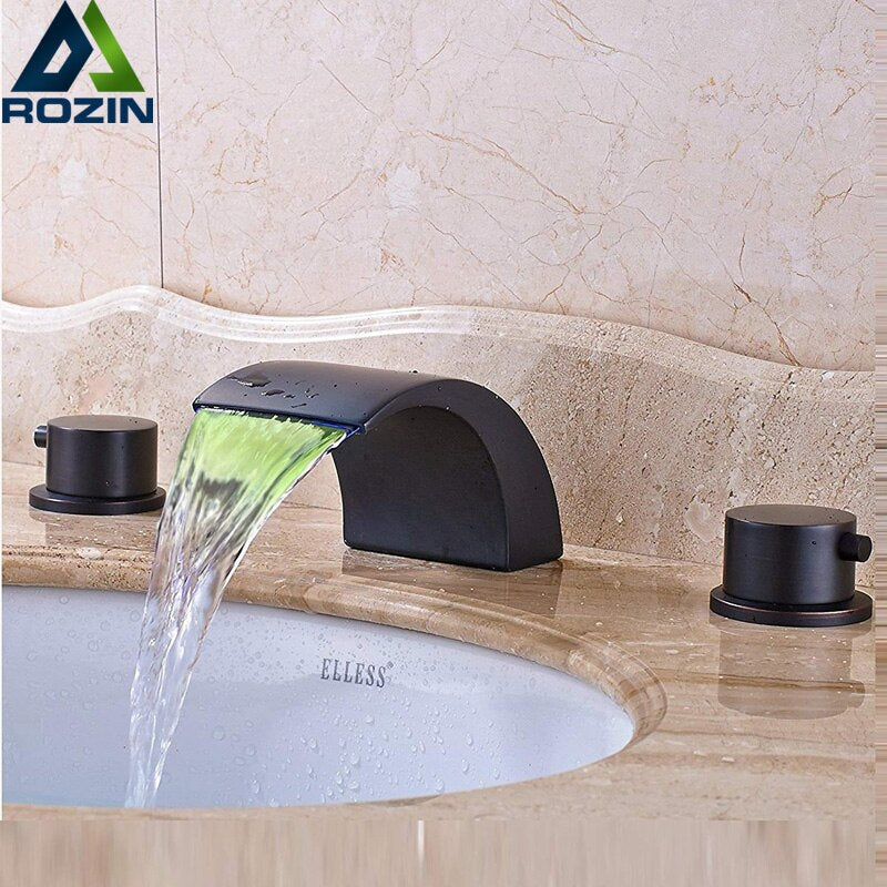 Black Bronze Basin Faucet Widespread LED light Bathroom Waterfall Spout Hot Cold Water Tap Dual Handle Basin Mixer Tap