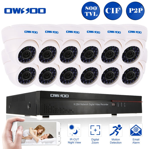 OWSOO 16CH Channel Full 800TVL CCTV Surveillance DVR Security System HDMI P2P Cloud Network Digital Video Recorder Night Vision