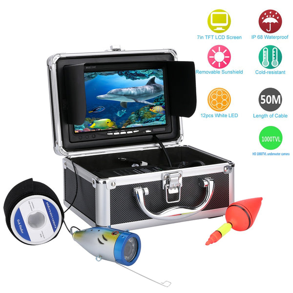 "Free Shipping! MOUNTAINONE 50M 1000tvl Underwater Fishing Video Camera Kit 12 PCS LED Lights with7"" Inch Color Monitor"