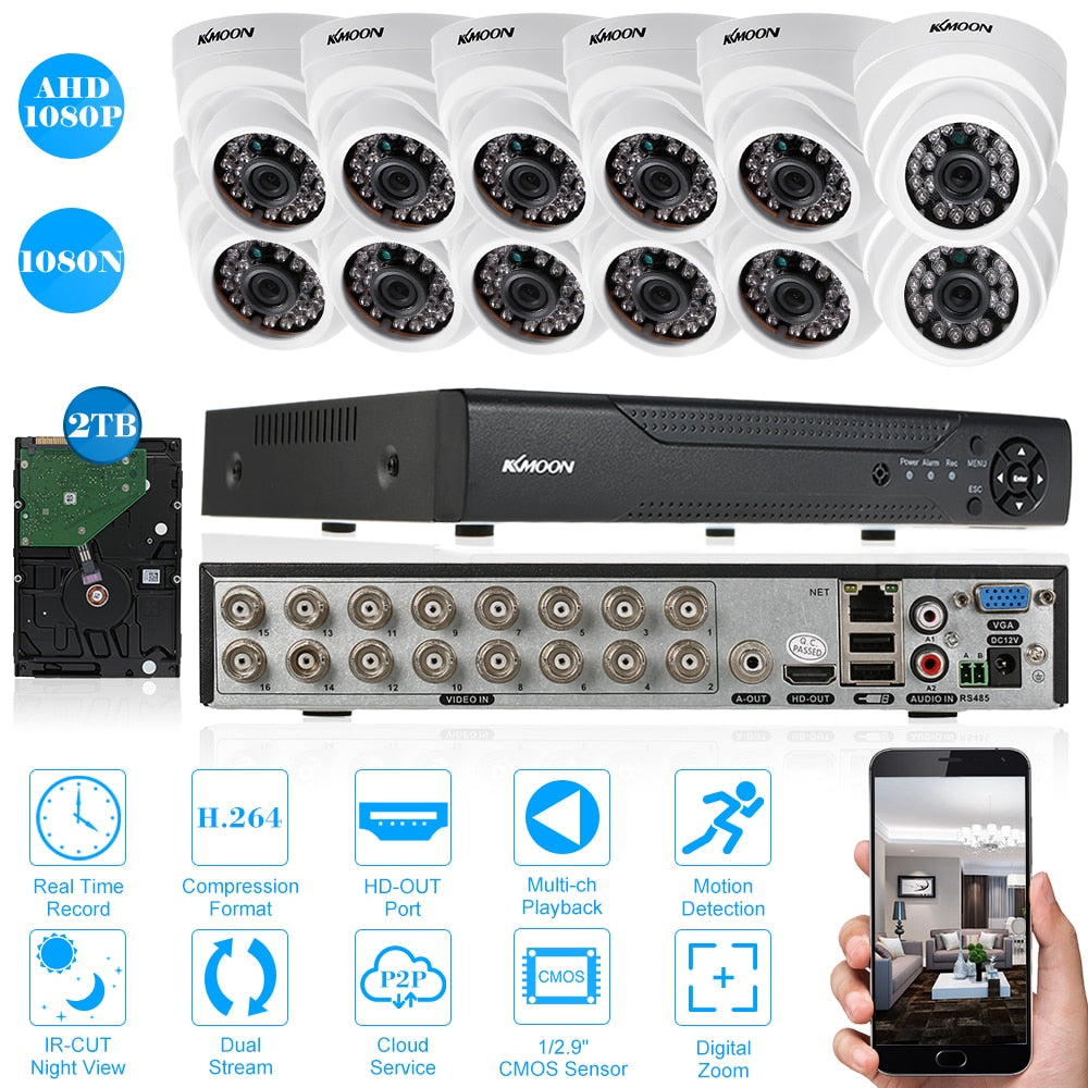 KKmoon 1080N DVR CCTV Camera With 12CH 1080P AHD IR Motion Detection Night Vision CCTV Camera For CCTV Security System 2TB HDD