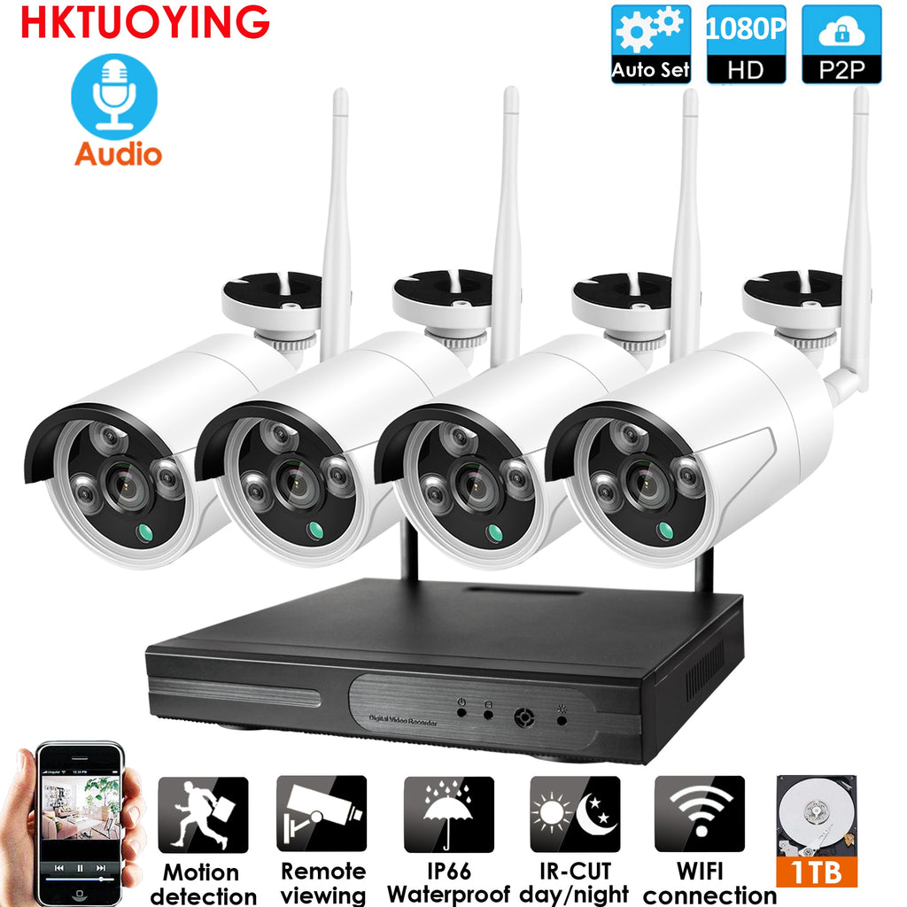 4ch 1080P Audio Wireless NVR Kit P2P 1080P Indoor Outdoor IR Night Vision Security 2.0MP Audio IP Camera WIFI CCTV System