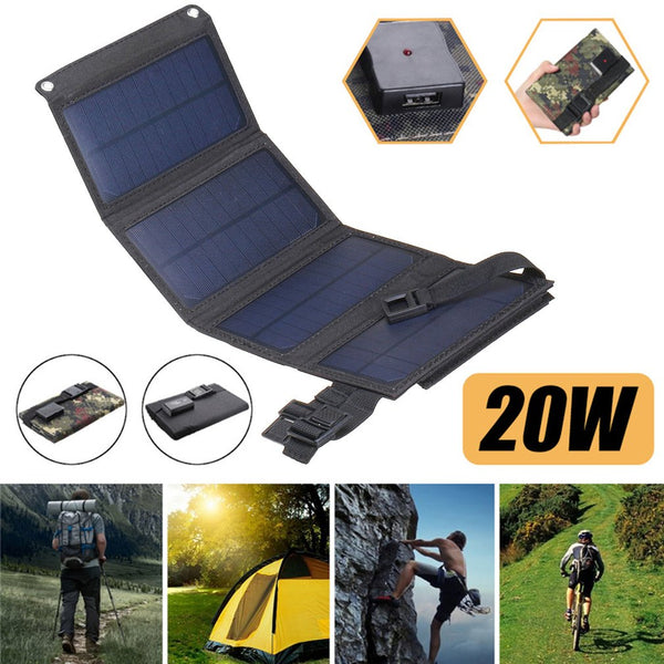 Portable Folding Foldable Waterproof Solar Panel Charger Mobile Power Bank 10000mAh