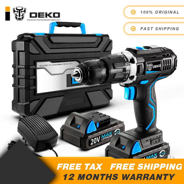 DEKO GCD20DU3 20V Max Household DIY Woodworking Lithium-Ion Battery Cordless Drill Driver Power Tools Electric Drill Power Drill