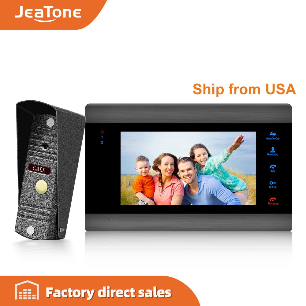 "JeaTone 7"" 1200TVL 4-Wired Video Intercom for Home Security System with IP65 Waterproof Mini Doorbell Camera Multi-language Menu"