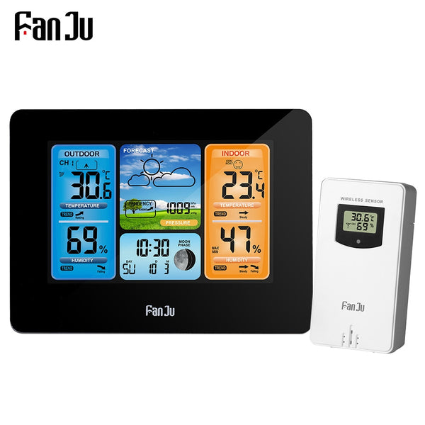 FanJu Digital Watch Alarm clcok Temperature Humidity Barometer Forecast Table Wall Weather Station Wireless Measuring Tools