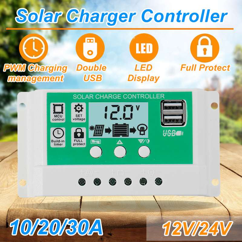 10A/20A/30A 12V 24V Auto Solar Charge Controller PWM Controllers LCD Dual USB 5V Output Solar Cell Panel Regulator with Load