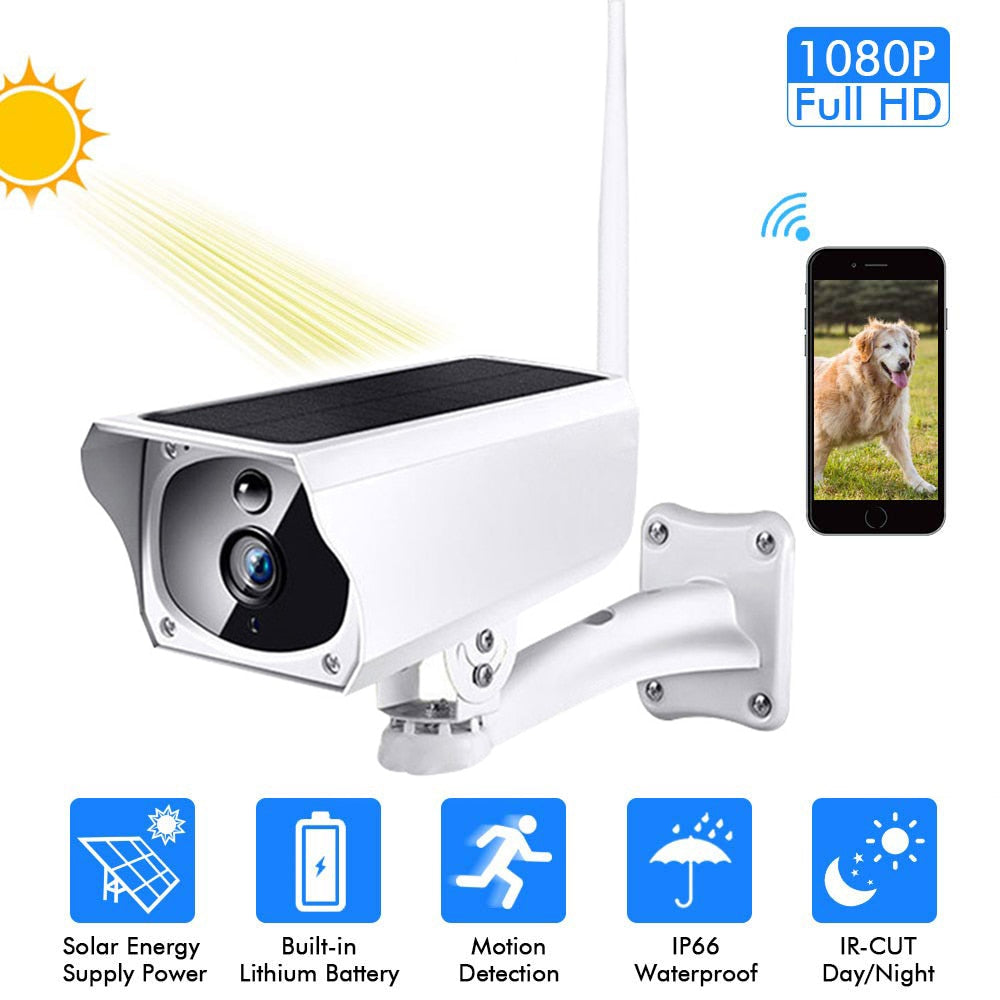 Solar WiFi IP Camera 1080P HD Outdoor Wireless Security Camera PIR Motion Detection Bullet Surveillance CCTV
