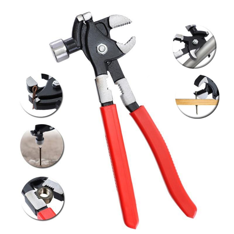 Woodworking Multifunctional Non-slip Hammer Universal Hammer Pliers Wrench Nail Puncher Repair Hand Tool For House Furniture