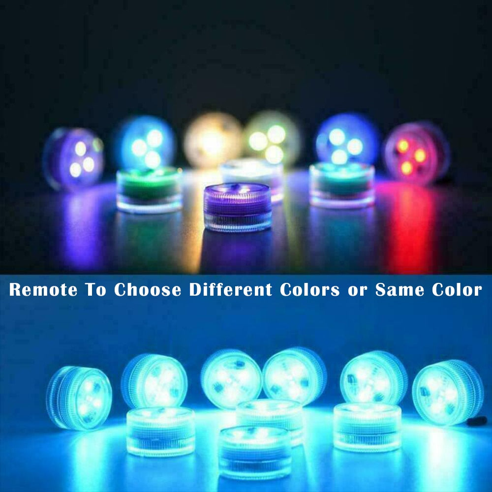 10 PCS RGB Submersible LED Night Light With Remote Control IP67 Waterproof For Fish Vase Bowl Outdoor Garden Party Decoration